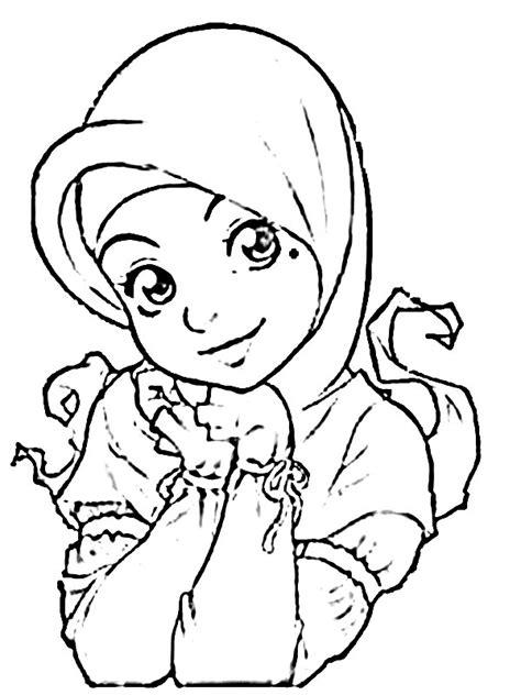 33 Contoh Gambar Mewarnai Anak Muslim