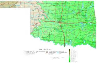Ok State Map by Oklahoma Contour Map