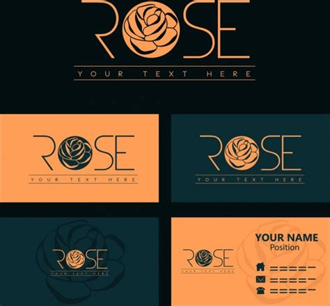 name card template rose logotype design free vector in