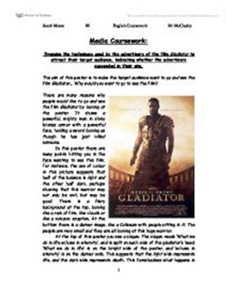 gladiator film study guide gladiator poster examine the techniques used by the