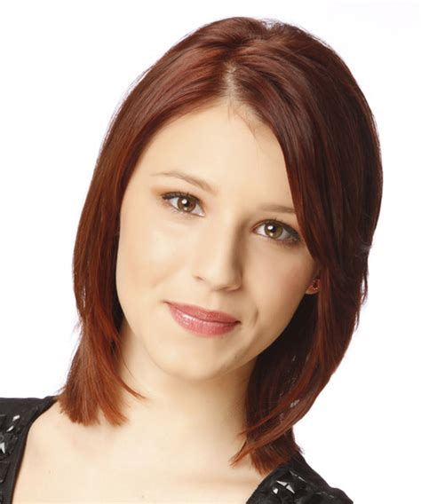formal medium straight hairstyle dark auburn red hair color