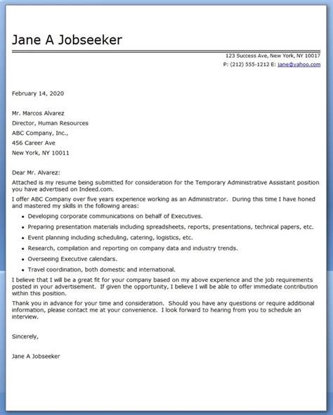 good cover letter for administrative assistant job