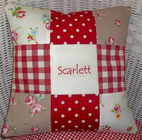 Patchwork Ideas For Cushions - patchwork name cushion by tuppenny house