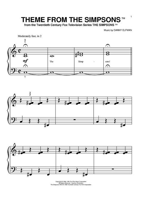 theme music news theme from the simpsons sheet music by danny elfman