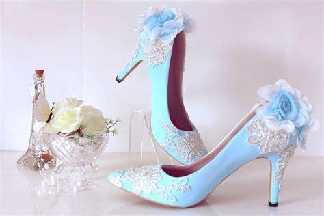 Shw598 Blue Sepatu Wedges 7cm sepatu pointed pompom brukat baby blueslightshop