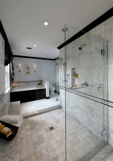 Marble crown molding bathroom traditional with shower bench neutral colors subway tiles