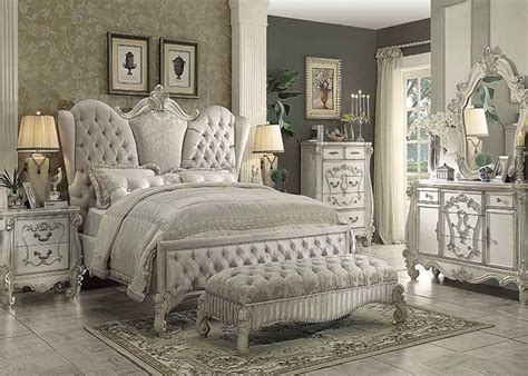 furniture versailles bedroom set in ivory velvet