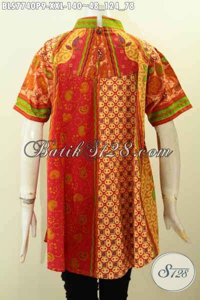 Dress Batik Bls 124 koleksi terbaru blus batik spesial untuk wanita gemuk