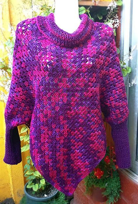 ponchos a palillo poncho con mangas a crochet y palillos knit poncho