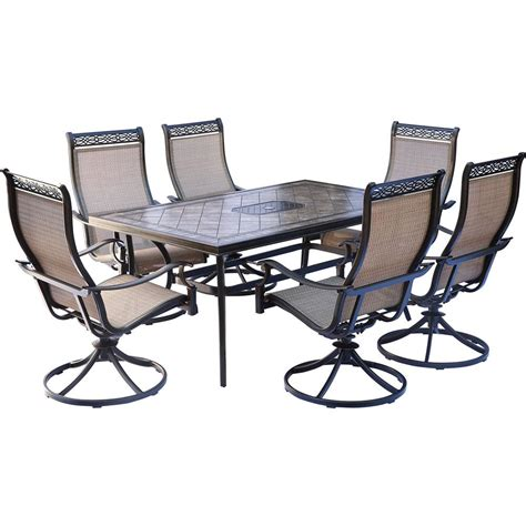 Oakland Living Tuscany Stone Art 54 In 7 Piece Patio 7 Patio Dining Set With Swivel Chairs