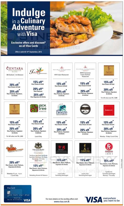 Visa Gift Card Discounts - exclusive offers and discounts for visa cards in sri lanka till 01th september