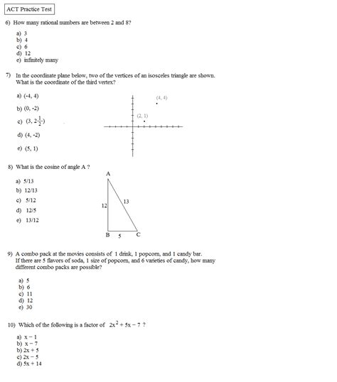 Act Practice Test 1 Section 1 Answers by Act Math Formula Sheet Pdf Free Act Math Test Practice