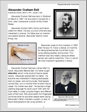 biography text of alexander graham bell biography alexander graham bell informational reading