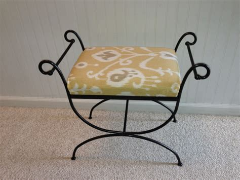 wrought iron vanity bench wrought iron vanity seat ikat fresh vintage nc