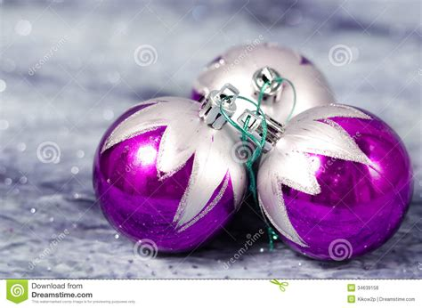 christmas decorations purple and silver royalty free stock