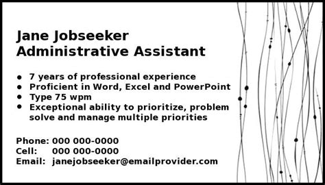business card for seekers templates personal calling cards