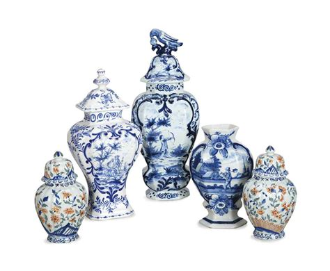 Delft Vase Markings by Five Delft Baluster Vases 19th 20th Century Most