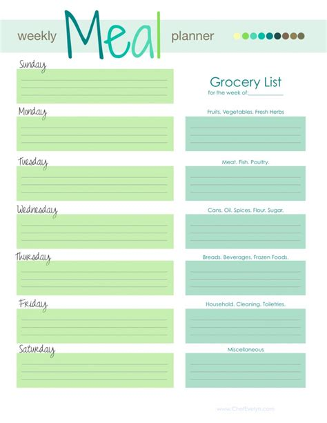weekly meal menu template 28 free printable grocery list templates baby