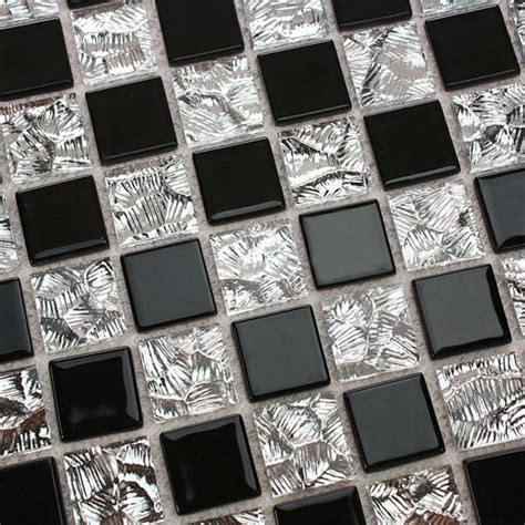 black and silver bathroom tiles crystal glass mosaic tiles mirror sheets black and silver