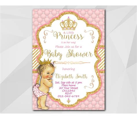Custom Little Princess Baby Shower Invitation Princess Baby Shower Invitation Templates Free