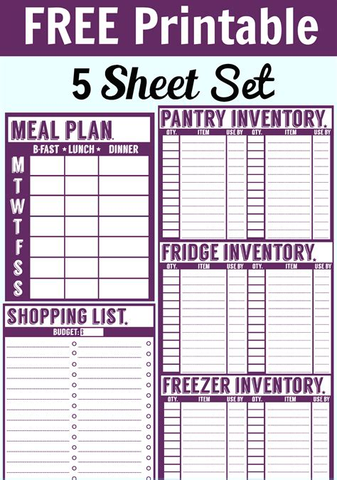 Home Pantry Inventory Software by Free Printable Menu Planner Shopping List Inventory Sheets