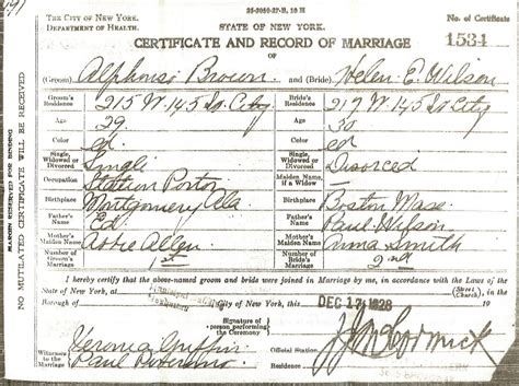 Marriage Records In Ny Alphonso Brown Marriage Certificate Finding Eliza
