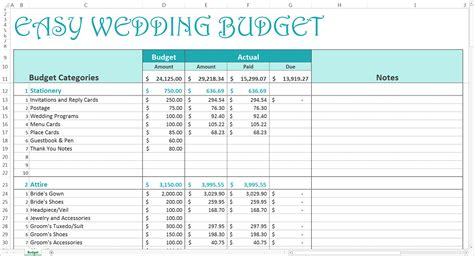 Wedding Budget by Easy Wedding Budget Excel Template Savvy Spreadsheets