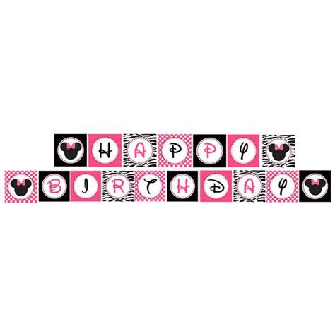 free printable zebra happy birthday banner minnie mouse pink zebra printable banner