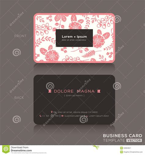 Pretty Business Card Templates Free by Business Card Template With Pink Floral Pattern
