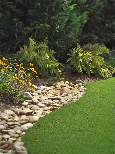 Rock Garden Borders Creek At The Edge Of A Lawn With Plantings Autumn Fern Rudbeckia River Rock Projects
