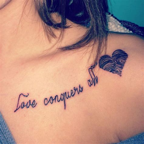 love conquers all tattoo conquers all with my grandparents fingerprints