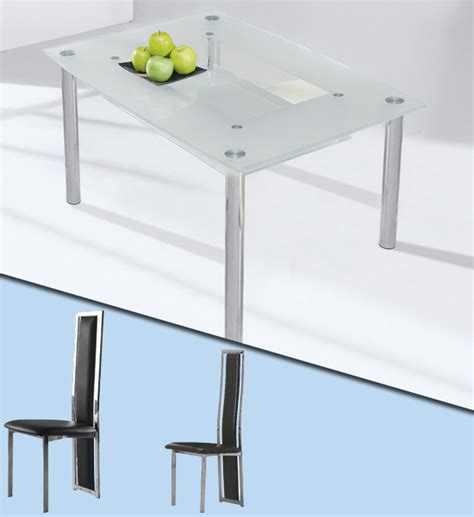 glass dining set small compact with 4 tuxedo chairs