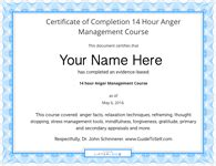 12 Hour Anger Management Class W Free Certificate Of Completion Best Online Anger Management Anger Management Certificate Of Completion Template