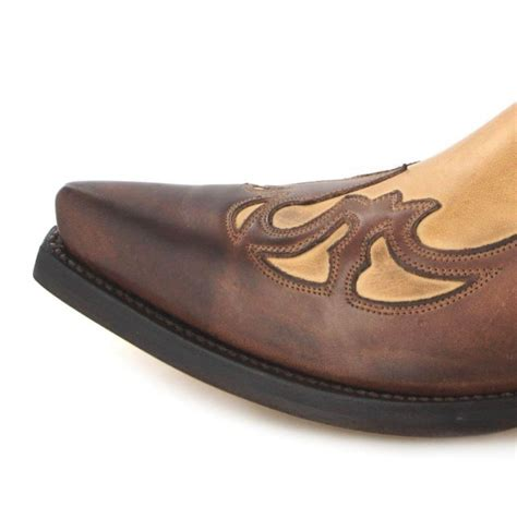Handmade Mexican Boots - handmade brown and beige leather cowboy boots two tone