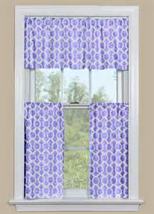 Purple Valance Curtains Retro Kitchen Curtain Valance And Tier Pair In Purple And White