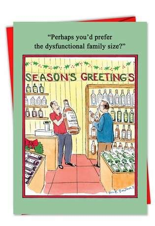 dysfunctional drinking family funny christmas greeting card