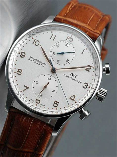 Ac 6338 Chronograph Mens Original Silver swiss iwc silver brown leather 2737
