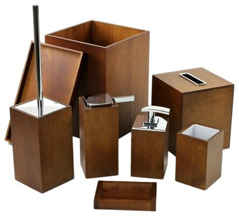 wood bathroom accessory set contemporary bathroom