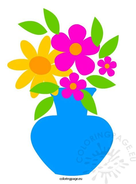 Clipart Flower Vase by Flowers In Vase Coloring Page