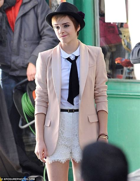 how tohi lite shirt pixie hair emma watson goes for androgynous chic in blazer and shorts