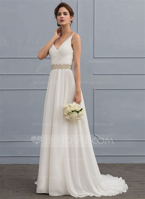 V Neck Chiffon Dress a line princess v neck sweep chiffon wedding dress