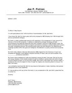 Business Letters Of Recommendation Exles Best Photos Of Free Sle Business Letter Of