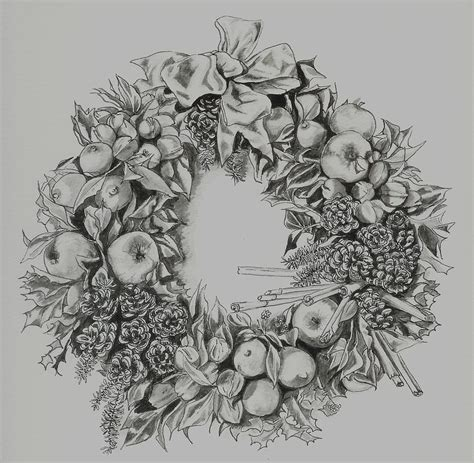 christ mas one drawing photo wreath drawing by yvonne ayoub