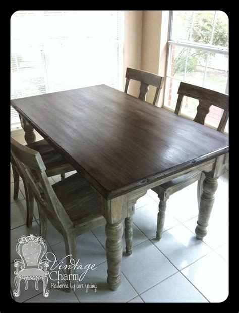 stained table top painted legs staining on top of chalk paint to create that wooden look