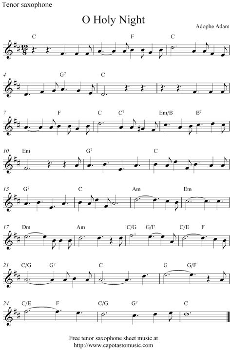 printable sheet music o holy night o holy night free christmas tenor saxophone sheet music notes