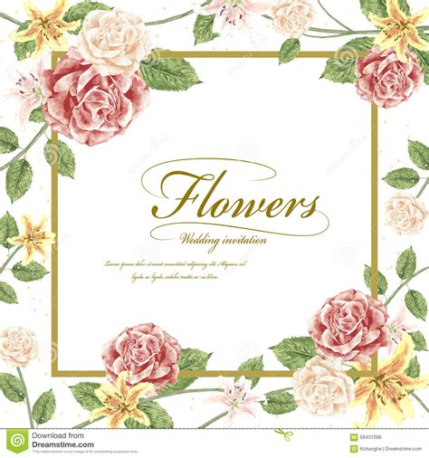 Romantic Flowers Wedding Invitation Template Design Stock Floral Wedding Invitation Template