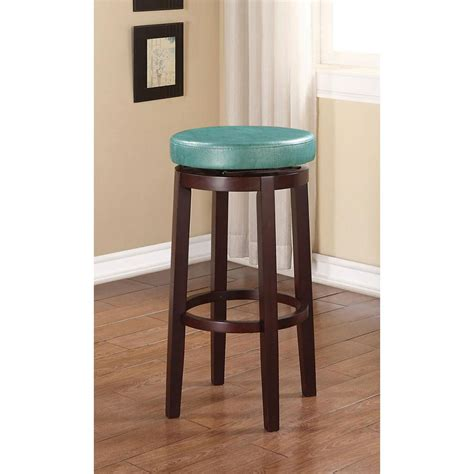 Linon Bar Stool Teal by Linon Home Decor 29 In Teal And Brown Cushioned Bar