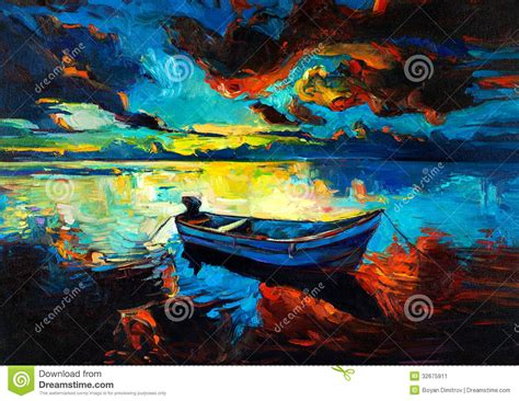 painting impressionism modern large original sunset stock illustration image of picture