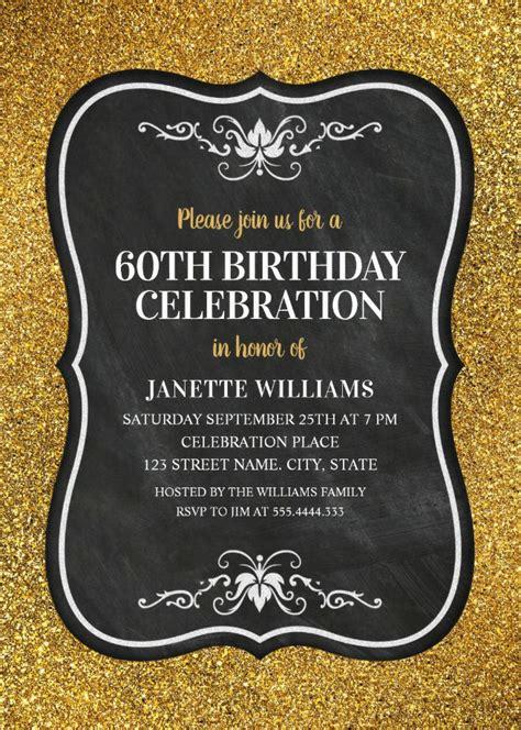 Glitter Adult 60th Birthday Party Invitations Chalkboard Gold Invitation Templates Gold Birthday Invitation Template