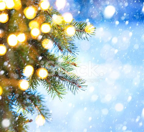 art christmas tree branch and snow fall stock photos